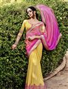 image of Pink-Yellow Georgette Embroidered Saree-46029