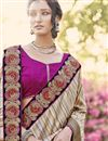 photo of Beige-Pink Silk-Georgette Embroidered Saree-46032