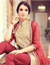 photo of Party Style Beige Color Silk And Georgette Fancy Festive Wear Straight Cut Salwar Kameez