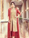 image of Party Style Beige Color Silk And Georgette Fancy Festive Wear Straight Cut Salwar Kameez