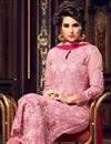 photo of Designer Straight Cut Pink Color Georgette Fabric Party Wear Fancy Embroidered Salwar Suit