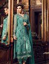 photo of Party Wear Fancy Green Color Georgette Fabric Straight Cut Designer Embellished Salwar Kameez