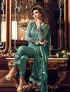 picture of Party Wear Fancy Green Color Georgette Fabric Straight Cut Designer Embellished Salwar Kameez