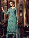 image of Party Wear Fancy Green Color Georgette Fabric Straight Cut Designer Embellished Salwar Kameez