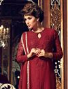 photo of Designer Maroon Color Georgette Fabric Party Wear Fancy Straight Cut Embroidered Dress Material