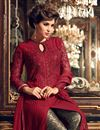 picture of Designer Straight Cut Maroon Color Georgette Fabric Party Wear Fancy Embroidered Salwar Suit