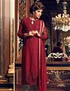 image of Designer Maroon Color Georgette Fabric Party Wear Fancy Straight Cut Embroidered Dress Material