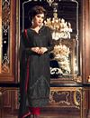 image of Designer Party Wear Fancy Black Color Georgette Fabric Straight Cut Embroidered Salwar Suit