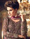 photo of Party Wear Brown Color Georgette Fabric Designer Fancy Straight Cut Embellished Salwar Kameez