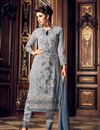 image of Designer Fancy Grey Color Georgette Fabric Party Wear Straight Cut Embroidered Dress Material
