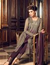 photo of Designer Straight Cut Wine Color Georgette Fabric Party Wear Fancy Embroidered Salwar Suit