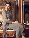photo of Designer Grey Color Georgette Fabric Party Wear Fancy Straight Cut Embroidered Dress Material