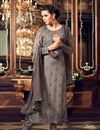 image of Designer Grey Color Georgette Fabric Party Wear Fancy Straight Cut Embroidered Dress Material