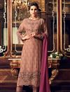 image of Designer Party Wear Fancy Peach Color Georgette Fabric Straight Cut Embroidered Salwar Suit