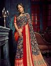 image of Navy Blue Chiffon And Brasso Fabric Occasion Wear Saree With Weaving Work