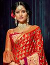 photo of Red Weaving Work On Chiffon And Brasso Fabric Occasion Wear Saree