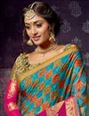 photo of Weaving Work On Cyan Chiffon And Brasso Fabric Function Wear Saree