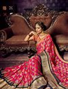 photo of Weaving Work On Crimson Color Chiffon And Brasso Fabric Occasion Wear Saree