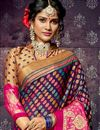 photo of Chiffon And Brasso Fabric Designer Saree In Purple With Weaving Designs