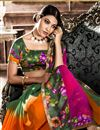 photo of Green-Orange Casual Wear Printed Georgette Saree