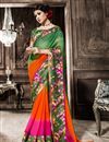 image of Green-Orange Casual Wear Printed Georgette Saree