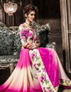 photo of Cream-Pink Georgette Fancy Print Saree