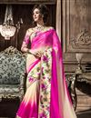image of Cream-Pink Georgette Fancy Print Saree