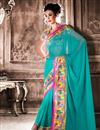 image of Sky Blue Fancy Print Formal Wear Georgette Saree