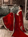 photo of Red Formal Wear Fancy Print Georgette Saree