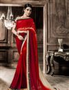 image of Red Formal Wear Fancy Print Georgette Saree