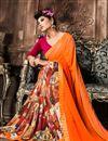 photo of Orange-Cream Casual Wear Printed Georgette Saree