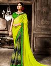 image of Green Georgette Fancy Print Saree