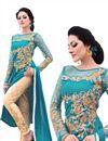 image of Teal Color Designer Cotton And Satin Salwar Suit