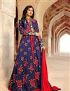 image of Blue Floor Length Embroidered Silk Anarkali Suit