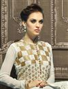 photo of Designer Net Fabric Embroidered Sharara Top Lehenga In Off White Color