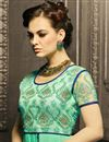 photo of Georgette And Net Fabric Long Length Embroidered Salwar Kameez In Green Color