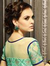 picture of Georgette And Net Fabric Long Length Embroidered Salwar Kameez In Green Color