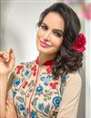 photo of Beige And Red Color Georgette Designer Kurti