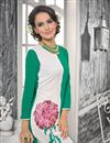 photo of White And Sea Green Color Georgette Designer Kurti