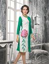 image of White And Sea Green Color Georgette Designer Kurti