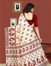 photo of Print Work On Cream Color Designer Saree In Art Silk Fabric