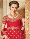 photo of Designer Wedding Function Wear Red Color Raw Silk Embellished Lehenga