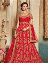 image of Designer Wedding Function Wear Red Color Raw Silk Embellished Lehenga