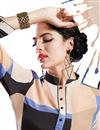 photo of Cream-Black Color Printed Party Wear Georgette Kurti