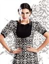 photo of White-Black Color Printed Party Wear Georgette Kurti