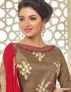 photo of Spectacular Brown Color Designer Suit In Silk Fabric With Embroidery