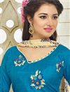 photo of Lovely Embroidery On Silk Party Wear Salwar Kameez In Blue Color