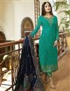 image of Kritika Kamra Georgette Function Wear Cyan Embroidered Straight Cut Suit With Dupatta