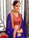 photo of Fabulously Embroidered Red And Blue Color Designer Saree In Georgette Fabric
