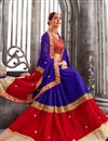 image of Fabulously Embroidered Red And Blue Color Designer Saree In Georgette Fabric